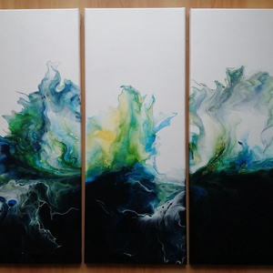 Tenger / 3 vászonból álló kép, Művészet, Festmény, Akril, Festészet, Három-, 20 x 50 cm-es vászonból álló kép, megjelenítve a viharos tengert. , Meska