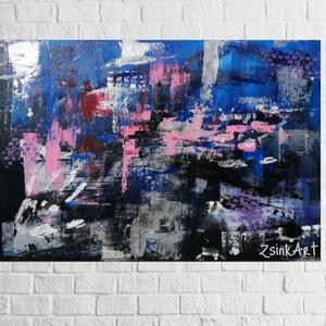 Vidám gondolatok/ 50 x 70 cm-es absztakt festmény, Művészet, Festmény, Akril, Festészet, Absztrakt festmény 50 x 70 cm-es méretben, amely vidám színeivel bármelyik falat feldobja. , Meska