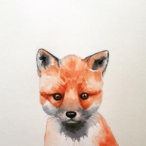 Kis róka akvarell - A4 giclée művészi nyomat (akvarell festményem nyomán) - Meska.hu