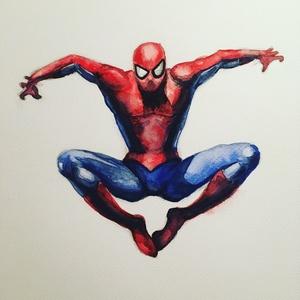 Pókember - A4 giclée művészi nyomat (akvarell festményem nyomán) - Meska.hu