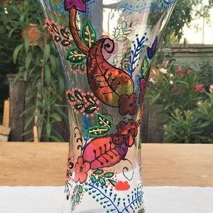 Üvegfestett mezeivirágos váza, Otthon & lakás, Dekoráció, Lakberendezés, Asztaldísz, Üvegművészet, Festészet, Üvegfestett váza, mely speciális kontúrozó festékkel és speciálisan üvegfestésre kifejlesztett külön..., Meska