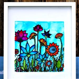 Mezei virágok, Otthon & lakás, Dekoráció, Kép, Lakberendezés, Falikép, Üvegművészet, Festészet, Üvegfestett kép, virágos rét témával, mely speciális kontúrozó festékkel és speciálisan üvegfestésre..., Meska