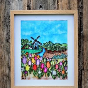 Egy csipet Hollandia, Otthon & lakás, Dekoráció, Kép, Lakberendezés, Falikép, Üvegművészet, Festészet, Üvegfestett kép mely színpompás tulipánjaival és a szélmalommal a holland vidék hangulatát idézi meg..., Meska