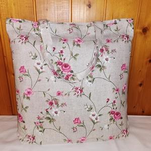 Rózsaszín virágos vászon szatyor, Táska & Tok, Bevásárlás & Shopper táska, Shopper, textiltáska, szatyor, Varrás, Erős vászonból /Loneta vászonból/ készült szatyor vagy bevásárlótáska. 50cm-es füle lehetővé teszi h..., Meska
