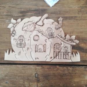 tökház, Játék, Gyerek & játék, Fajáték, Készségfejlesztő játék, Famegmunkálás, Ezek a manócskák tökházban leltek otthonra . A kirakó 26 darabos, égetőpákával rajzolt, égerfából ké..., Meska