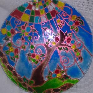 Tündérfa üvegfestéssel, Dekoráció, Otthon & lakás, Dísz, Szerelmeseknek, Ünnepi dekoráció, Lakberendezés, Festett tárgyak, A Tündérfa \nAz egyik kedvenc motívum amit több alkalommal megfestettem már és mindig egy kevés eltér..., Meska