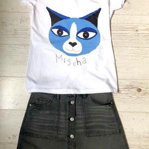 Mischa póló, Táska, Divat & Szépség, Ruha, divat, Női ruha, Póló, felsőrész, Fotó, grafika, rajz, illusztráció, Egyedi, kézzel készült póló, több színben és méretben elérhető felnőtteknek és gyerekeknek.\n\nA nyoma..., Meska