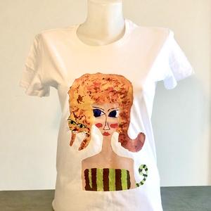 Macskaparóka póló, Táska, Divat & Szépség, Ruha, divat, Női ruha, Póló, felsőrész, Fotó, grafika, rajz, illusztráció, Egyedi, kézzel készült póló. \nA nyomat egy festményem alapján készült a legmodernebb technikával. Tö..., Meska