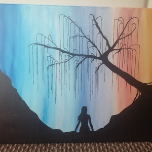 Festmény - Naplemente szomorúfűzzel, Otthon & lakás, Festett tárgyak, Festészet, 40x50 cm-es vászonkép, akrilfestékkel festve, felületkezelt, vízálló. Keretezést nem igényel.\n\n..., Meska
