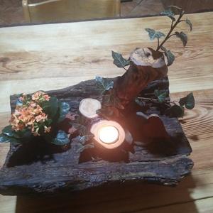 Tavaszi asztaldísz rusztikus megközelítésben., Asztaldísz, Dekoráció, Otthon & Lakás, Famegmunkálás, Tavaszi asztaldísz rusztikus megközelítésben korhadt fa törzsből készítve., Meska