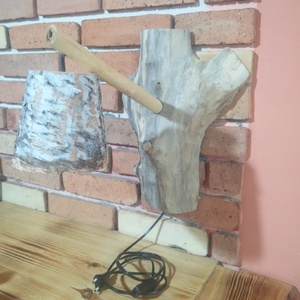 Rusztikus uszadékfából fali lámpa, Otthon & Lakás, Lámpa, Fali & Mennyezeti lámpa, Famegmunkálás, Csomoros nyárfából készített egyedi kézműves lámpaformájú dekoráció.Rusztikus stílusban.A dísztárgy ..., Meska