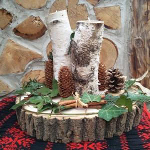 Adventi koszorú asztaldísz . asztalközép-, Otthon & lakás, Lakberendezés, Koszorú, Famegmunkálás, \nTermészetes fa alapanyagokból  és száraz virágkötészeti anyagokból készült, a natúr fa  koszorú. Az..., Meska