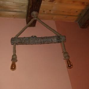 Rusztikus kötél lámpa., NoWaste, Otthon & lakás, Lakberendezés, Lámpa, Fali-, mennyezeti lámpa, Famegmunkálás, Egyszerű diszkrét megjelenésű kötél lámpa. A kender kötél és a fa kómbinációja természetessége vissz..., Meska