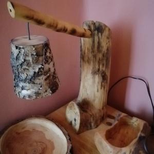 Rusztikus uszadék fából készült asztali lámpa., Otthon & lakás, Lakberendezés, Lámpa, Asztali lámpa, Famegmunkálás, Mindenmás, Egyedileg készített asztali lámpa mely rusztikus stílusban uszadék fából készült nyírfakéreg lámpaer..., Meska
