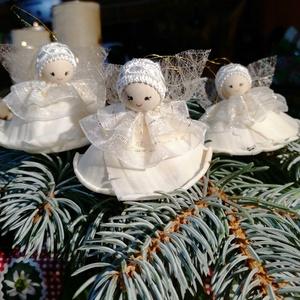 Angyal tündér, Karácsony & Mikulás, Karácsonyfadísz, Baba-és bábkészítés, Egyedileg készített termés angyalkák karácsonyfadísznek ajándék kisérőnek önálló ajándéknak...., Meska