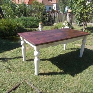íves kávájú rusztikus ebédlőasztal, Otthon & Lakás, Bútor, Asztal, Fenyőfából készült, esztergált lábú, 190x90 cm asztallapú, 80 cm magasságú ebédlőasztal. Káva, láb k..., Meska