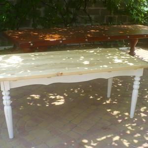 padlólapos rusztikus ebédlőasztal, Bútor, Otthon & lakás, Asztal, Dekoráció, Famegmunkálás, Mindenmás, Fenyőfából készült, esztergált lábú, 180x80 cm asztallapú, 75 cm magasságú ebédlőasztal. \nSzínezés i..., Meska