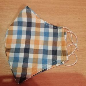Kockás maszk, Ruha & Divat, Maszk, Arcmaszk, Férfi & Uniszex, Varrás, 2 réteg vékony pamutvászonból készült,oldalán kalapgumival.\n24x15cm\n40 fokon mosható, Meska