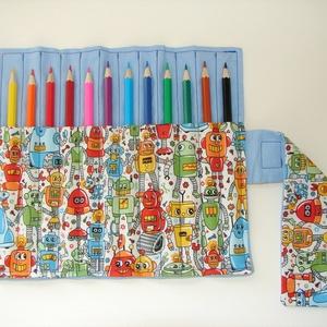 Robotos ceruzatekercs ceruzával, Ovi- és sulikezdés, Tolltartó & Ceruzatekercs, Varrás, Meska