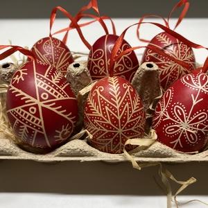 6 db piros hímes tojás - otthon & lakás - dekoráció - Meska.hu