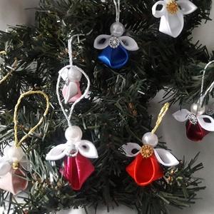 Kanzashi kisangyalkák- karácsony , ünnep, ajándék, Karácsony & Mikulás, Karácsonyi dekoráció, Mindenmás, Szalagokból hajtottam, olvasztottam, ragasztottam az angyalkákat.\nBármilyen színkombinációban kérhet..., Meska