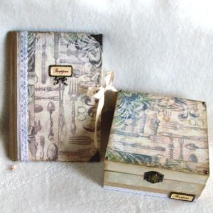 Vintage receptes könyv és teatartó szett , Esküvő, Férfiaknak, Lakberendezés, Otthon & lakás, Papírművészet, Bőrművesség, A napló kb. 90-98 sima lap, és külön is megvásárolható. A doboz belül 4 részre osztott, mely ki is v..., Meska