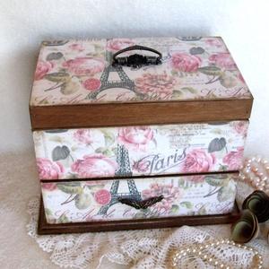 """Ékszertartó - Párizs rózsái fiókos , Ékszer, Ékszerdoboz, Ékszertartó, Igazi ajándék egy ilyen energiát sugárzó, lányos """"kincsesláda. Kívülről és belülről selyemfényű lakk..., Meska"""