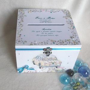 Esküvői pénzátadó, pénzgyűjtő doboz- Vidám, Esküvő, Nászajándék, Egyéb, Esküvői dekoráció, Decoupage, transzfer és szalvétatechnika, Közepes méretű vidám hangulatú lezárható, névre szóló pénzgyűjtő doboz egy jó hangulatú esküvőhöz. \n..., Meska