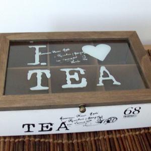 Tea tartó üveg tetővel, Otthon & Lakás, Konyhafelszerelés, Tea & Kávé tárolás, Decoupage, transzfer és szalvétatechnika, Vintage színvilágú teás doboz, a barna és fehér klasszikus eleganciájával. Belsejét és a tető peremé..., Meska