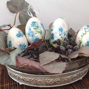 Húsvéti tojás - liba tojás nefelejccsel - AKCIÓ, Otthon & Lakás, Dekoráció, Asztaldísz, Decoupage, transzfer és szalvétatechnika, Nagy méretű, szép formájú, természetes liba tojások különböző díszítéssel, de minden virág azonos, n..., Meska