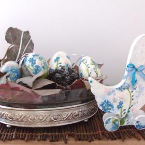 Húsvéti tojás - liba tojás nefelejccsel és lentkerekes libával- AKCIÓ, Otthon & Lakás, Dekoráció, Asztaldísz, Decoupage, transzfer és szalvétatechnika, Nagy méretű, szép formájú, természetes liba tojások különböző díszítéssel, de minden virág azonos, n..., Meska