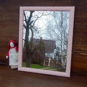 Fehér lencsepöttyös rózsaszín tükör (Zsuzskalak) - Meska.hu