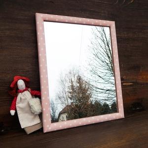 Fehér lencsepöttyös rózsaszín tükör, Otthon & Lakás, Dekoráció, Tükör, Festett tárgyak, Meska