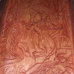 Kézzel szobrászolt fa dombormű ,  falikép /relief/
