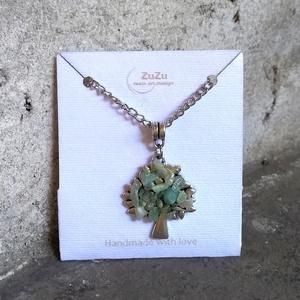 Ezüst színű, amazonit ásványgyönggyel díszített életfa medálos nyaklánc - Meska.hu