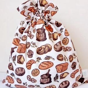 Kenyeres zsák, közepes, frissentartó, Táska & Tok, Bevásárlás & Shopper táska, Kenyeres zsák, Varrás, Közepes méret.\nKét rétegű kenyeres zsák, kívül mintás, belül vízhatlan, lélegző, PUL anyag, ez friss..., Meska