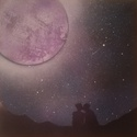 festmény: éjszakai szerelem, Képzőművészet, Festmény, Akvarell, Festmény vegyes technika, Festészet, 30x30 cm, spray és akvarell festék vegyítésével, vászonra készült festmény. A kép egyetlen érzelmet..., Meska