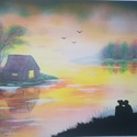 Szerelem a tóparton, Képzőművészet, Festmény, Akril, Festészet, A színekben és érzelmekben gazdag képről a nyugalom, a csend és a szerelem tükröződik vissza ránk a..., Meska