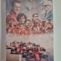 Ferrari vászonkép, Otthon & Lakás, Dekoráció, Kép & Falikép, Festészet, Fotó, grafika, rajz, illusztráció, a forma1 Ferrari története 1 képben. Ajándéknak vagy saját részre is tökéletes.  Mérete: 20x30x2cm ..., Meska