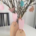 Húsvéti füles nyuszi pár, Dekoráció, Húsvéti díszek, Ünnepi dekoráció, Fából készült, kézzel festett füles nyuszi pár. Méret: 22*12*2cm, 28*10*2cm , Meska