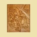 Jézus keresztútja - 10. rész, Otthon & lakás, Egyéb, Dekoráció, Vallási tárgyak, Ünnepi dekoráció, Karácsonyi, adventi apróságok, Domborműves kialakítású faragott passiókép, amelyen Jézus keresztútjának 10. része látható...., Meska