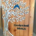 Nászajándék-a boldogság kék madara kép, Esküvő, Otthon & lakás, Nászajándék, Dekoráció, Kép, Fából készült, kézzel festett kép, ami nagyon szép ajándék esküvőre az ifjú párnak vagy akár évfordu..., Meska