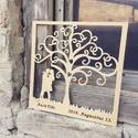Romantikus, életfás kép, egyedi felirattal, Otthon & lakás, Dekoráció, Kép, Szerelmeseknek, Ünnepi dekoráció, Egyedi kialakítású fa kép, amelyen a szerelmes pár és neveik láthatóak az évforduló dátumával. Egyed..., Meska