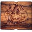 """Szentcsalád kép, Otthon & lakás, Egyéb, Dekoráció, Kép, Vallási tárgyak, Domborműves kialakítású fa kép, amelyen a szentcsalád látható, """"Édesanyánknak szeretettel"""" feliratta..., Meska"""