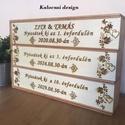 Nászajándék, évfordulós három részes pálinkás doboz, Egyedi 3 részes fa díszdoboz,amelyen a házaspá...