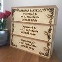 Nászajándék, évfordulós három részes díszdoboz, Esküvő, Nászajándék, Egyedi 3 részes fa díszdoboz,amelyen a házaspár keresztnevei és házassági évforduló dátuma látható. ..., Meska