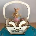 Nyuszis húsvéti kosár, Otthon & lakás, Egyéb, Dekoráció, Húsvéti díszek, Ünnepi dekoráció, Famegmunkálás, Nyuszis húsvéti tojásgyűjtő kosár gyerekeknek, vagy asztali dekoráció fából. Méretek: 18*28 cm. A t..., Meska