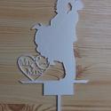 Esküvői tortadísz, Esküvő, Konyhafelszerelés, Szerelmeseknek, Esküvői dekoráció, Mr & Mrs esküvői tortadísz Fehér, műanyag 21 cm x 14 cm (3 mm vastag), Meska