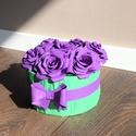 """Rózsabox, ami nem hervad el!, Dekoráció, Esküvő, Papírművészet, 7 """"szál"""", papírból készült rózsa rózsadobozban, origami masnival díszítve.  A papírrózsák átmérője ..., Meska"""