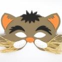 Kackiás macska - viselhető álarc fiúknak és lányoknak, rafia bajusszal, csillámos díszítéssel, dekorgumiból, Mindenmás, Játék, Farsangi jelmez, Báb, Vidám állatos álarc,fess kandúrok és csinos cicalányok egyaránt viselhetik. Hozzájárulhat a jó hangu..., Meska